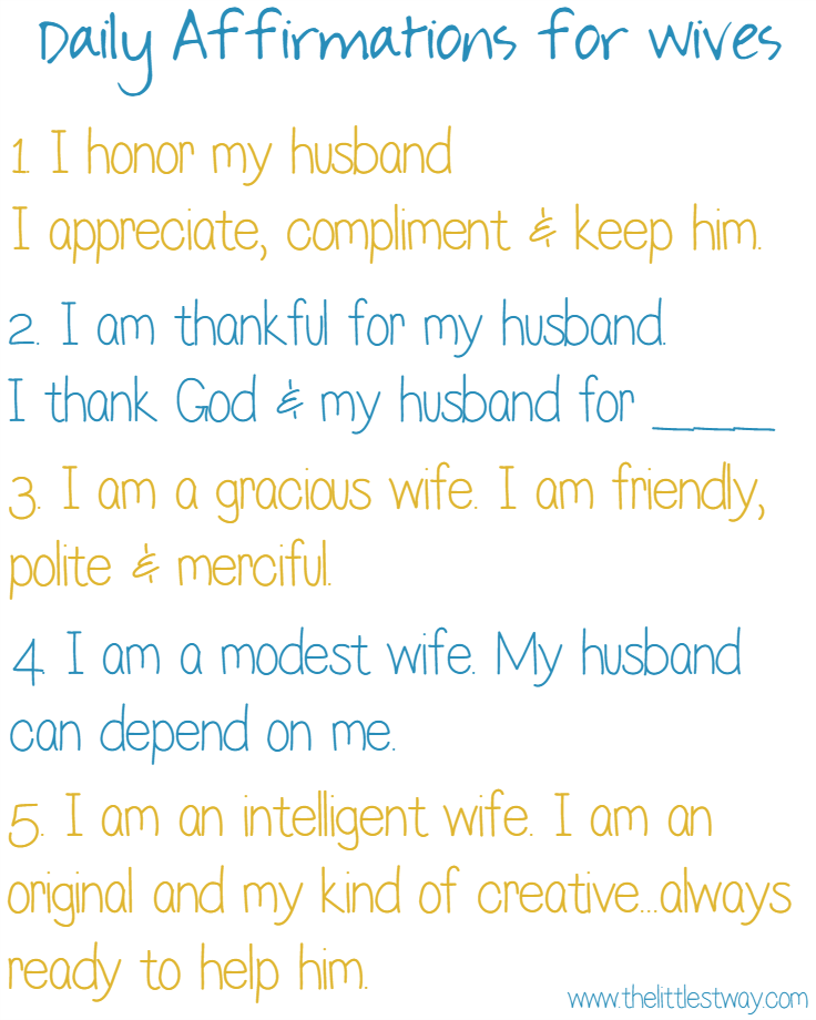 daily affirmations for wives the littlest way