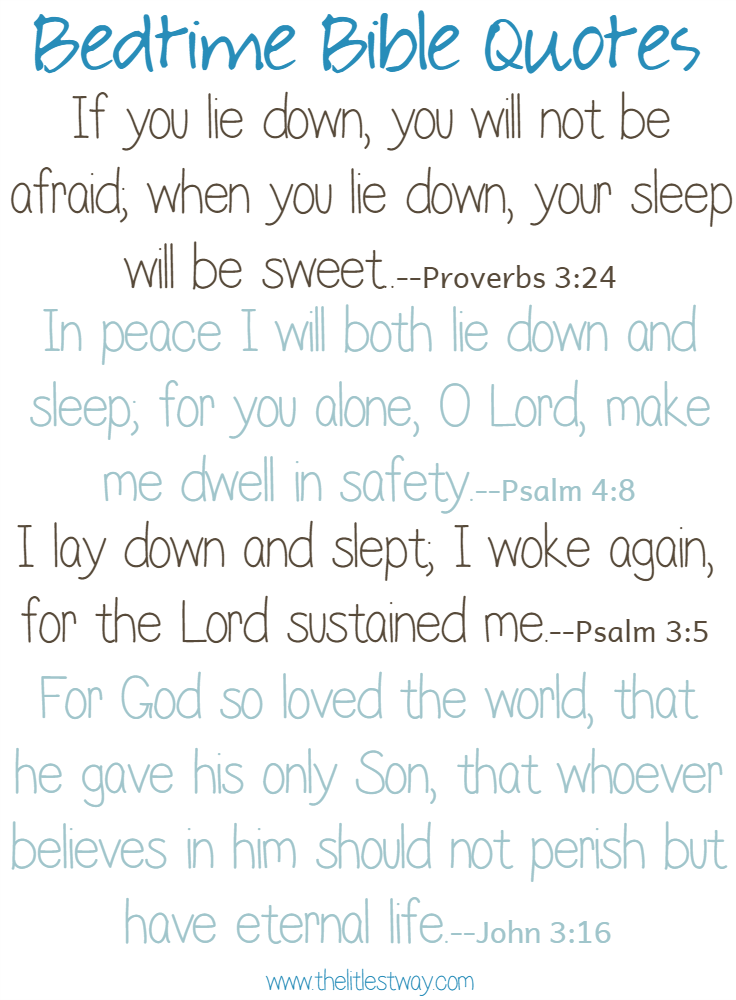 Bedtime Quotes Adorable Bedtime Bible Quotes The Littlest Way