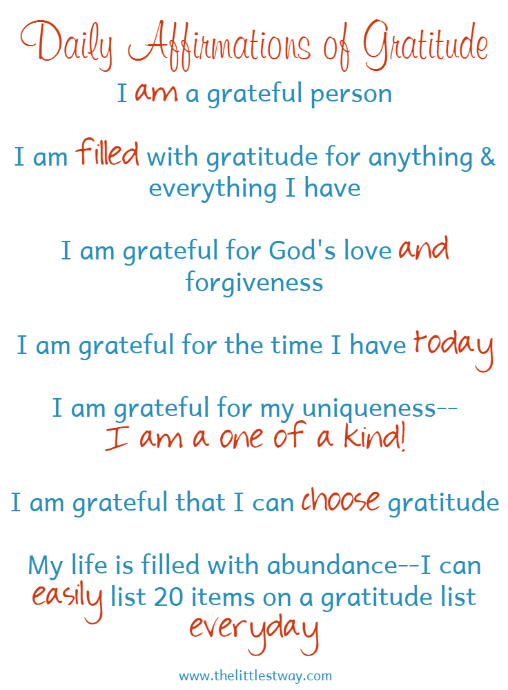 Daily Affirmations of Gratitude • The Littlest Way