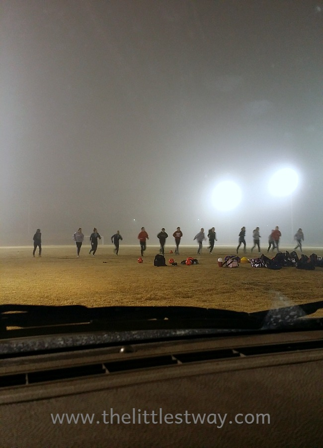 soccer practice in the fog
