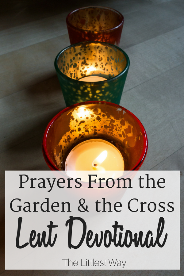 Three votive candles as we consider the prayers of Jesus in the garden and on the cross for our Lent Devotions.