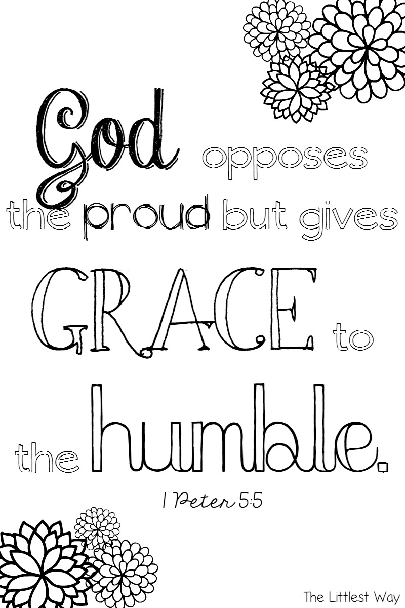scripture coloring page grace to the humble u2022 the littlest way