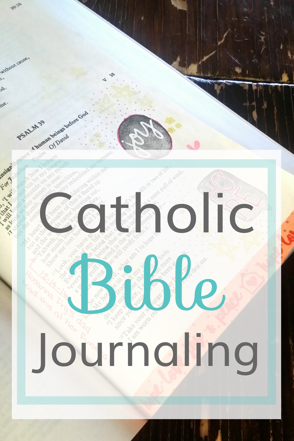 A Catholic Journaling Bible with extra roominess for Bible journaling, note taking and memory keeping.