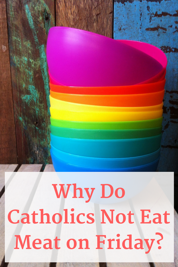 Colorful bowls on display while talking about Catholics abstaining from meat on Friday.