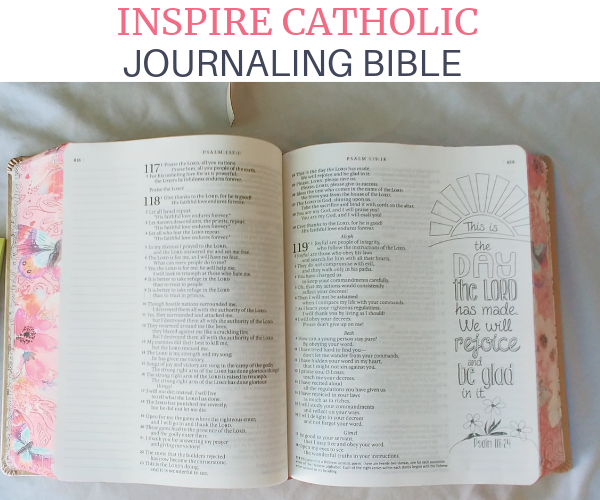 Inspire Catholic Journaling Bible picture of the inside.